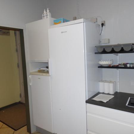Der er både køleskab og fryser i køkkenet